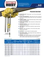Chester ALH Series Low Headroom Air Chain Hoist Brochure