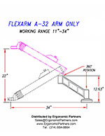 FlexArm Heavy Duty Assembler Arm A-32 Drawing