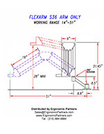 FlexArm Heavy Duty Assembler Arm S-36 Drawing