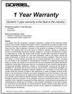 Gorbel G-Force and Easy Arm Warranty
