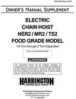 Harrington NER Food Grade Electric Hoist Manual