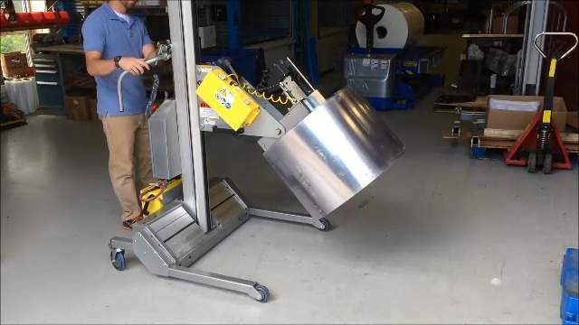 Mobile Roll Lifter with Powered Roll Push off Device