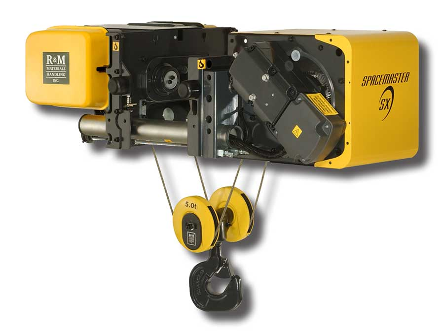 r\u0026m spacemaster r\u0026m hoist electric rope hoist  r\u0026m spacemaster sx wire rope hoist low headroom trolley