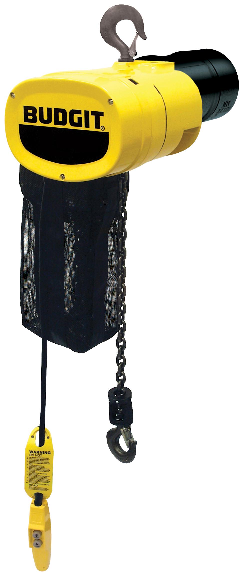 Budgit Man Guard Electric Chain Hoist, Hook Mount