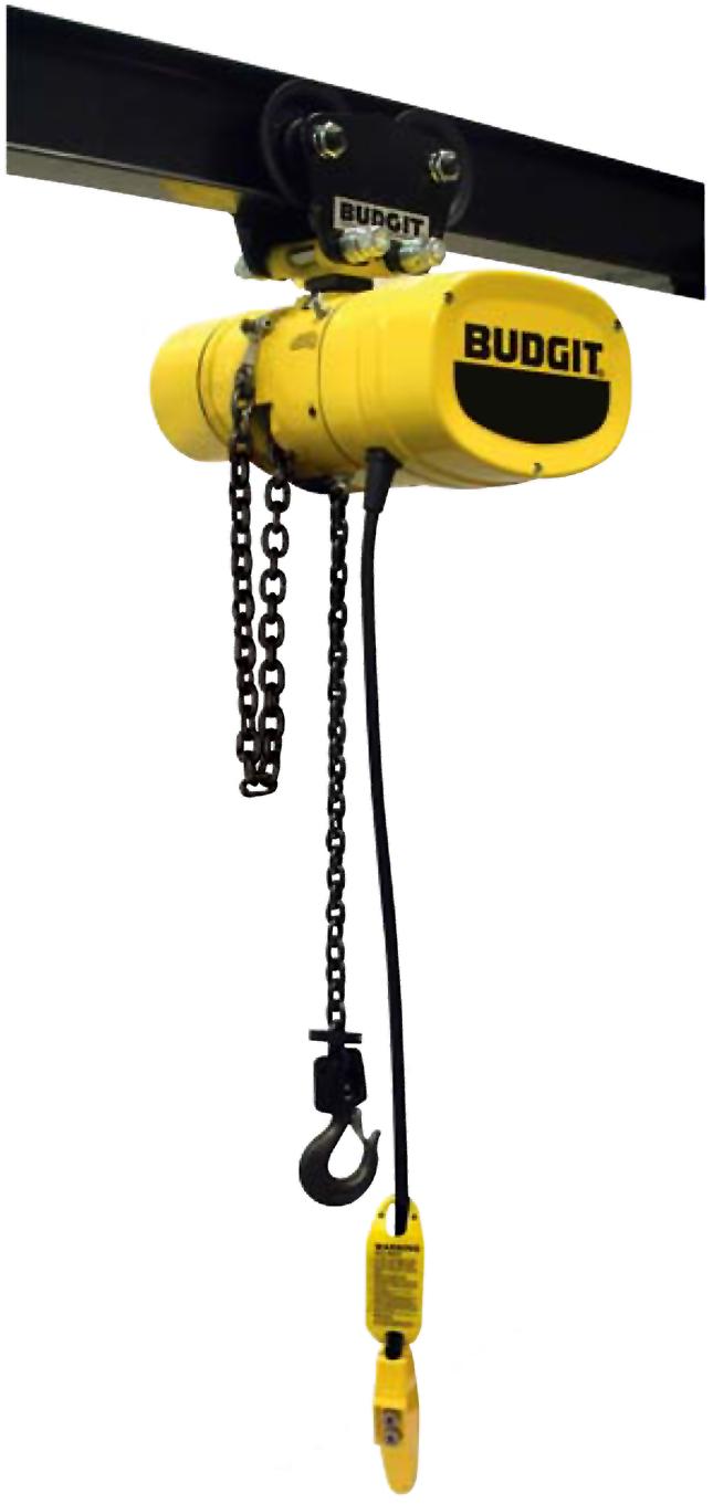 Budgit Man Guard Electric Chain Hoist with Plain Push Trolley