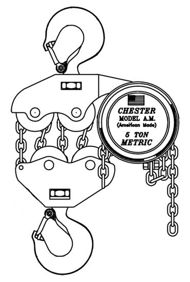 5-Ton Chester Model AM Hook Type Hand Chain Hoist, Part No 150-5