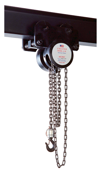 1/2-Ton Chester Model AM Army Type Trolley Hand Chain Hoist, Part No 1151-1/2