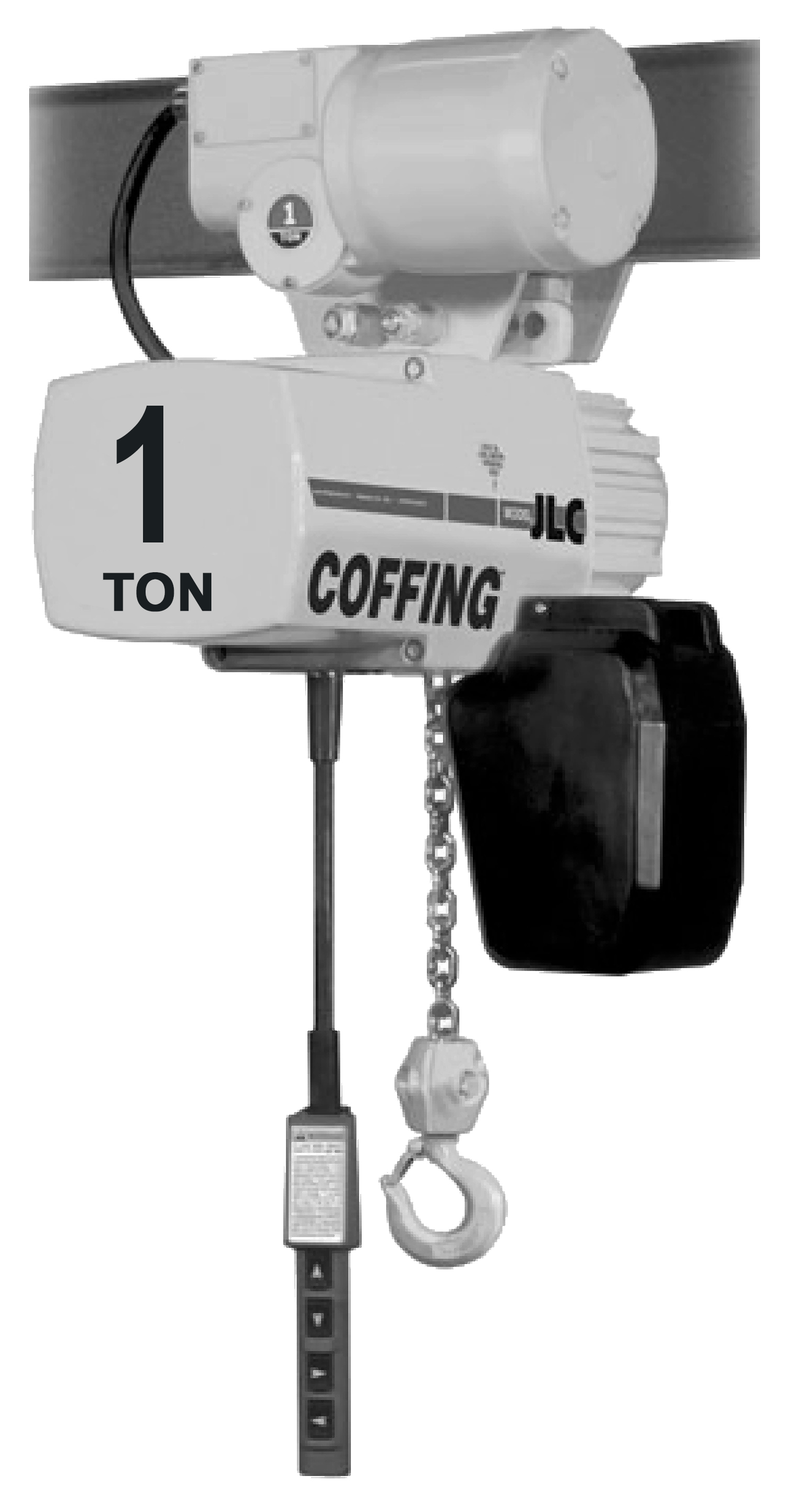 1-Ton Coffing JLC Electric Chain Hoist with Motorized Trolley