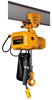 Harrington SNER Electric Chain Hoist with Push Trolley