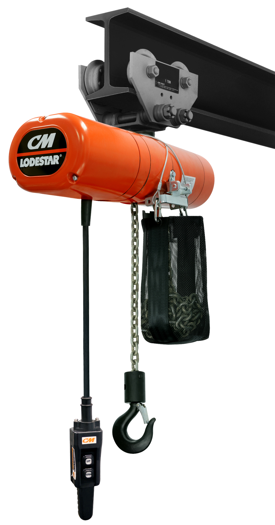 CM LodeStar Electric Chain Hoist, Three Phase with Push Trolley
