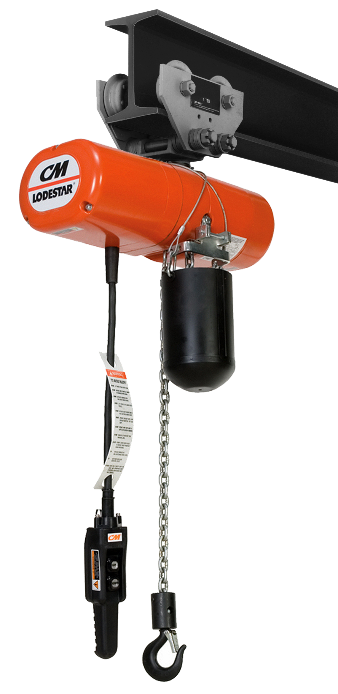 CM LodeStar Electric Chain Hoist with Push Trolley and Chain Container