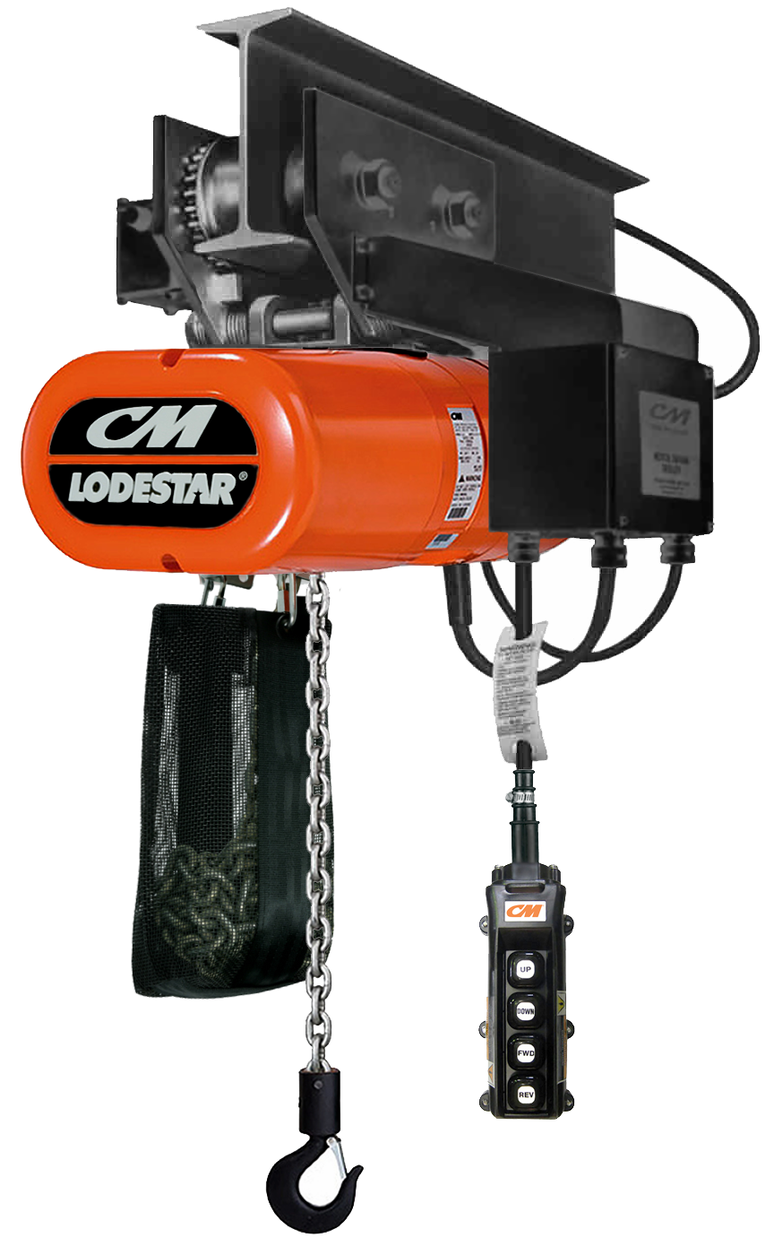 CM LodeStar Electric Chain Hoist, Three Phase with Motorized Trolley