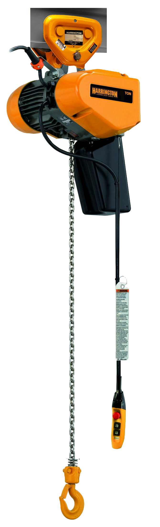 Harrington SEQ Single Phase Two-Speed Electric Chain Hoist with Push Trolley