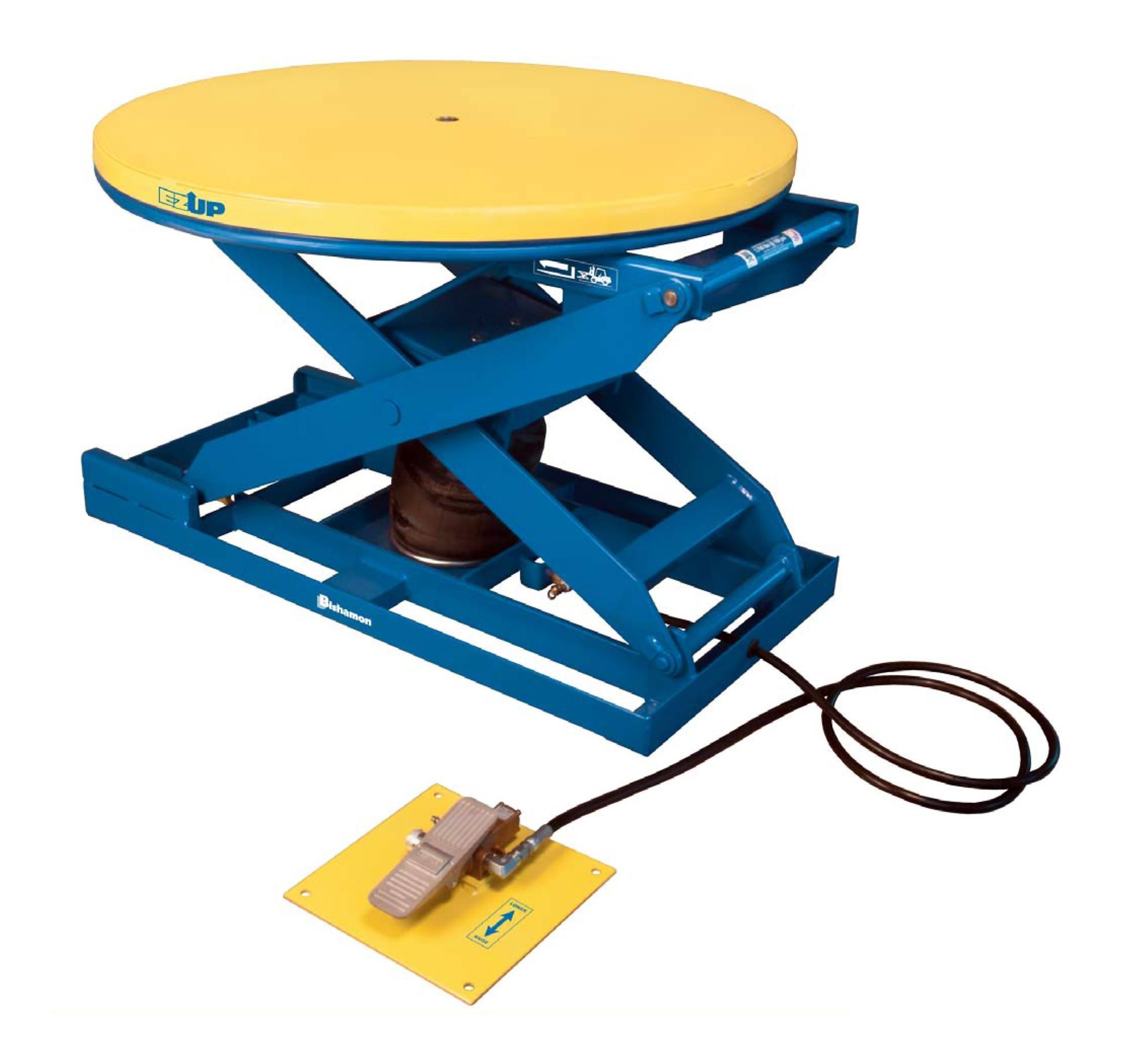 Bishamon EZ Up EZU-15-R Pneumatic Lift Table with Round Rotating Platform and Foot Operated Control