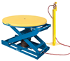 Bishamon EZ Up EZU-15-R Pneumatic Lift Table with Round Rotating Platform and Pedestal Valve Stand for Hand Control