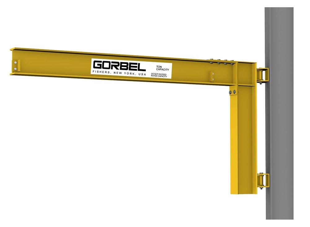 Gorbel Wall Cantilever I-Beam Jib Crane, 500 lbs, Span 14 ft